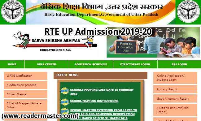 RTE UP Admission Online Form In Hindi