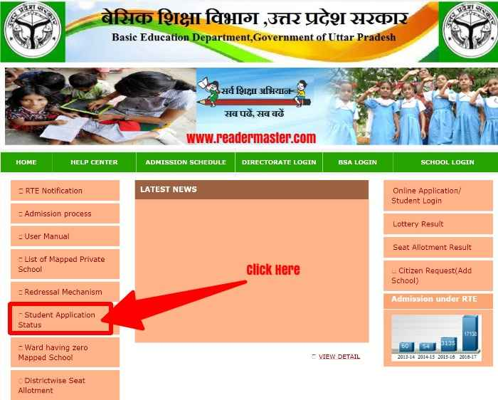 RTE UP Admission Students Application Status