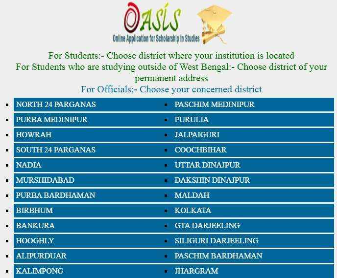 OASIS Scholarship District-wise List