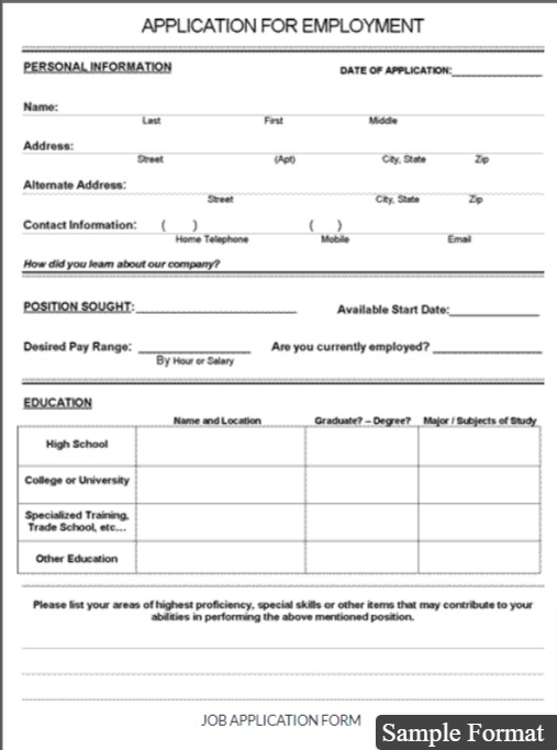 Sample Job Application Form PDF Download for Employers